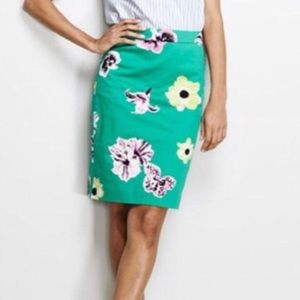 J. Crew Factory Green Floral Pencil Skirt